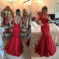 Wholesale 2017 New Mermaid Lace Evening Dresses Long Sleeves V Neck Pearls Sheer Back Long Red Elegant Formal Prom Party Pageant Gowns Plus Size
