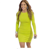 Wholesale Dress Fluorescent - 2016 sexy wholesale fluorescent green long sleeve bandage Dress rayon luxury sexy bodycon noble elegant celebrity party dress
