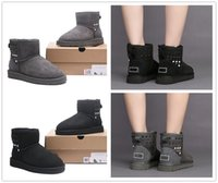 Wholesale Head Snow Boots - 2017 New round head boots Beading winter high helper warm boots waterproof each woman's choice High Quality Classic WGG Size 35-40