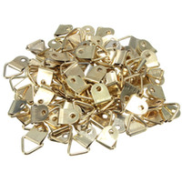 Wholesale Wholesale Picture Frames Sets - Wholesale universal Strong Golden 100pcs set D Rings Decor Picture Frames Hanger Hooks Hanging Triangle Screws High Quality