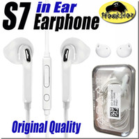 Wholesale Earphone Ear Microphone - Original Quality Earphones For S7 S6 edge Galaxy Headphone High Quality In Ear Headset With Mic Volume Control For Iphone 5 6s WithRetailBox