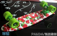 Wholesale Penny Board Long - 22 inchs Long Good Quality Hydrographics Transfer Printing Strawberry Pattern Mini Cruiser Skateboard Retro Fish shaped Penny Style Board