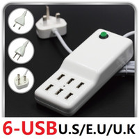 Wholesale-2016 US / EU / UK AC-Stecker-Adapter 5V12A 6 Port USB-Ladegerät für iPhone für Samsung Huawei XIAOMI alles intelligente Android Phone Tablet