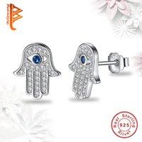 Wholesale Wholesale Hamsa Earrings - BELAWANG 925 Sterling Silver Blue Evil Eye Hamsa Hand Stud Earrings For Women with Clear CZ Crystal Earrings Jewelry Gift For Christmas Gift
