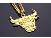 Wholesale Bulls Hip Hop Necklace - NYUK Punk-stil Kuh Kopf Anhänger Halskette Gold Farbe Ngau Tau legierung Bulls Lange Metallkette Für Männer Junge Mode Hip Hop schmuck