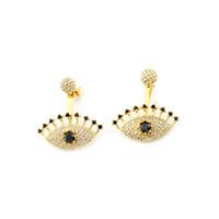 Wholesale Evil Eye Stud - Wholesale 10Pcs lot 2017 Hot Sale Fashion 18K Gold Earrings Jewelry Lot Earrings Crystal Evil Eye Cubic Zirconia Earrings For Women