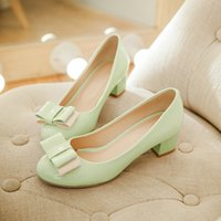 Wholesale fresh slip shoes - Fresh green small code shoes color bow round shallow mouth shoe Princess student code