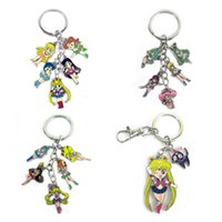 Wholesale Metal Dolls - Sailor Moon keychain color metal Figure dolls Pendant Key chain Japanese anime Charms with Key Ring