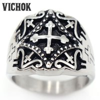 Wholesale Christmas Cave - 316 L Stainless Steel ring 2017 New Hot fashion brand Antique Men's Cross Pattern Caved Stainless Steel Finger Ring VICHOK