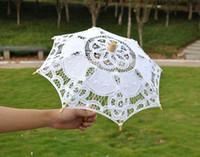 Wholesale Small Wood Crafts - Cotton Lace Parasols Bridal Wedding Parasol Handmade small craft umbrella Diameter:38cm Cotton Lace wedding favor decoration