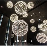 feuerwerk leben großhandel-Led pendelleuchte licht feuerwerk edelstahl kugel kronleuchter lichter restaurant villa hotel beleuchtung wohnzimmer