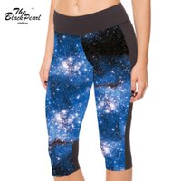 Wholesale Star Sexy Legging Pants - Sexy 2016 Women's 7 point pants women legging Galaxy Blue Star Series digital print women high waist Side pocket phone pant