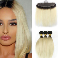 Wholesale 613 Blonde Closure - T 1b 613 Dark Root Blonde Extensions Indian Straight Hair 3 Bundles with Ear to Ear Lace Frontal Closure Virgin Human Hair Weave
