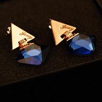 Wholesale Fashion Jewelry Celebrity - Top Quality Fashion Women Drop Earrings Hot Sale Navy Blue Square Crystal Dangle Earrings Celebrity Brand Earrings Korean Jewelry