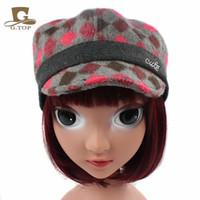 Wholesale Kid Flat Peak Caps - Cool!! Cute Kids Girls Grid Plaid visor Beret Cap wool Flat Peaked hat Children Hat free shipping