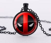 Wholesale Toy Men Black Glasses - Deadpool Convex Glass Cabochon Necklace Silver Hold Bronze Glass Time Gemstone Necklaces Fashion Jewelry for Women Men Kids Toy-B33