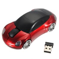 Wholesale Mini Laptops Free Shipping - New Mini 2.4Ghz 1600DPI 10m Wireless Car Shape Colorful USB LED Optical Mouse Mice For PC Laptop Notebook Free Shipping