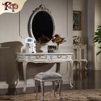 muebles europeos franceses al por mayor-Muebles provinciales franceses - Conjunto de muebles de dormitorio clásico de lujo de la realeza europea - pintura de agrietamiento tocador y espejo
