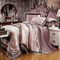 Wholesale Embroidered Satin Bedding Sets - Wholesale- New Design Jacquard Silk Bedding sets Queen King Size 4Pcs Satin Bed Set Lace Bedclothes Cotton Bed linen Duvet cover