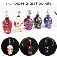 Wholesale colored skull for sale - Group buy NEW Colored Skull Pipes Glass Hookahs Bong Zinc Alloy Glass With Leather Hose Portable Mini Pipes Smoking Accessories Smoking Pipe DHL