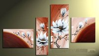 Wholesale Modern Metal Art Wall Hanging - 100% pure hand-painted oil paintings Home decoration hanging pictures TV setting wall hang a picture 4 Pieces set No frame