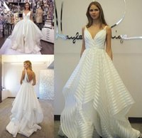 Wholesale Paige Dress - Hayley Paige 2017 Decklyn Garden Wedding Dresses Fashion Puffy Tiered Skirt Spaghetti organza Backless Country Bridal Wedding Gowns