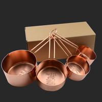 messgerät großhandel-Hohe Qualität Kupfer Edelstahl Messbecher 4 Stücke Set Küchenwerkzeuge Kuchen Machen und Backen Messgeräte Messwerkzeuge HH7-177