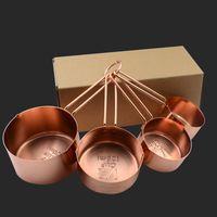 herramienta de medida de medida al por mayor-Tazas de medición de acero inoxidable de cobre de alta calidad 4 unidades Set herramientas de cocina que hacen pasteles y calibres de hornear herramientas de medición HH7-177