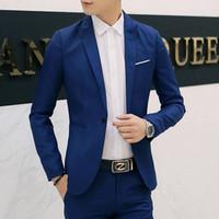 Wholesale Korean Jackets Wholesale - Wholesale- 2017 New Mens Blazer Jacket Men's Casual Slim Fit Suit Coats Terno Masculino Men Casual Korean Jacket (Coat) Hot Sale