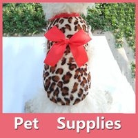 Wholesale Dog Pink Leopard - Pets Dog Leopard Clothes Puppy Winter Warm Hoodie Fleece Sweater Costume Apparel With 2 Colors 160912
