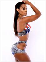 amerikanische flagge badeanzüge großhandel-Medusa Sommer neue amerikanische Flagge gedruckt Bademode auf beiden Seiten der hohlen Taille Bikini sexy Split Badeanzug