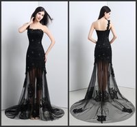 Wholesale One Shoulder Lace - 2016 Red Carpet Formal Dress One Shoulder Prom Dresses Long Train Elegant Evening Dresses Fast Shipping Beaded Lace And Tull Evening Gowns