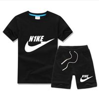 Wholesale Old Clothing Brands - Free shipping New 2016 summer clothing sets kids pants + Top boys girls brand kids clothes children tracksuits 2-10 years old