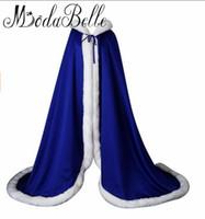 mavi elbise için bolero toptan satış-Modabelle Beyaz / Fildişi / Kırmızı / Mor / Kraliyet Mavi Gelin Pelerinler Şal Düğün Kürk Bolero Kış Düğün Ceket Akşam Elbise Bolero 2017