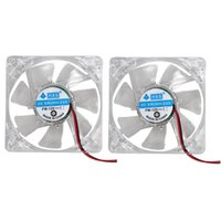 Atacado- FW1S 2PCS Colorful LED Case Fan 12V 4Pin 80mm 80x25mm para PC PC 7-Blade CPU Cooling