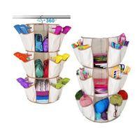 Wholesale Hanging Shoe Racks - 3-Tiers Multi Pocket Hanging Smart Carousel Organizer Shoe Rack Handbag Storage Bag Organizer Holder Hosekeeping Accessories CCA7721 100pcs