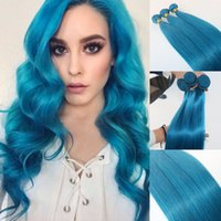 Wholesale pure remy blue hair for sale - Group buy Human Hair Extensions Sky Blue Human Hair Weaves Brazilian Straight Virgin Hair gram piece Best Quality