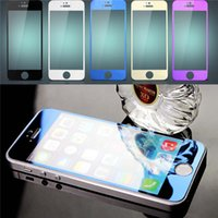 Wholesale iphone 5c plate resale online - Colorful Tempered Glass Explosion Proof For Iphone s plus s c SE Color Plating Screen Protector Mirror Film guard With Retail Box