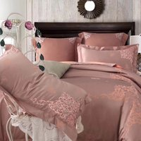 Wholesale embroidered bedding designs for sale - satin jacquare embroidery designs feeling soft color luxuarant and noble bed sheet bedding set cotton blue beige purple color
