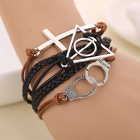 Wholesale Handcuff Leather Bracelet - 2016 New Harry Potter and Deathly Hallows Charm Bracelet Christian Cross Love Bracelet Personalized Handcuffs Combination Leather Bracelet
