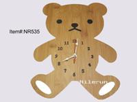 Wholesale Wall Craft Clocks - bamboo decorative wall clock craft clock gift children creative clock