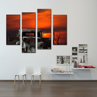ingrosso vecchia pittura ad albero-4 Picture Combination Wall Art Of An Old Car e Sunset Tree Painting Pictures Stampa su tela The Picture For Home Decor