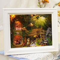 Wholesale Miniature Photos - Wholesale- Hot Sale Diy House for Puppenhaus Photo Frame Girl Brithday Miniature Furniture House Model Building Toys-JHZQW071