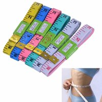 Wholesale Diet Clothes - Wholesale-F85 Free Shipping 1.5M 60inch Soft Flat Tape Ruler Mini Colourful Tailor Diet Body clothes measure