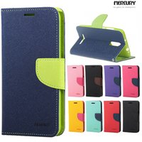 Wholesale Hybrid Leather Flip Case - Mercury Wallet leather PU TPU Hybrid Soft Case Folio Flip Cover for iphone 5 6 6plus 7 7plus Samsuung S6 S6 edge S7 S7 edge S8 S8 plus