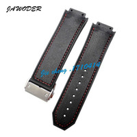 Wholesale 18mm Silicone Watch Strap - JAWODER Watchband Men 26mm x 18mm High Quality Red Stitched Black Silicone Rubber Watch Band Strap Deployment Buckle for HUB Big Bang