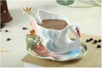 Wholesale Porcelain Cup Saucer Set - Swan Coffee Cup Colored enamel porcelain Mug with saucers and teaspoons of holiday Get married creative gift