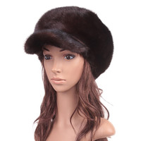 Wholesale Ear Protector Hats - Wholesale-Russian Real Mink Fur Visor Hats Autumn Winter Genuine Women Fur Caps Female Headgear Ear Protector 1057
