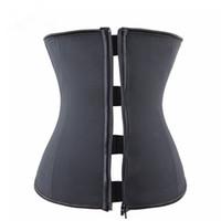 Wholesale Sexy Corset Clip - Wholesale-Zipper Rubber Latex Waist Trainer Sexy Waist Training Corsets Underbust Waist Cincher Zip And Clip Waist Shaper