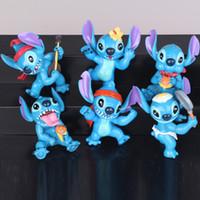 Wholesale Lilo Stitch Figures Set - New Hot Anime Cartoon Lilo & Stitch Cute Mini Figure Tos PVC Action Figures Dolls 6pcs set